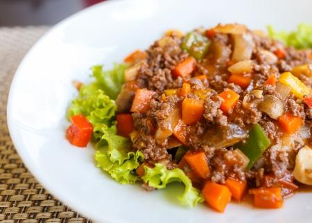 noodle macaroni with pork sauce thai style
