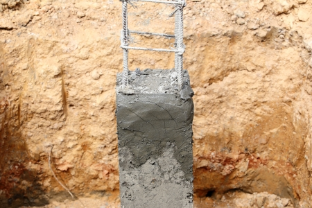 cement pole: foundation for house building