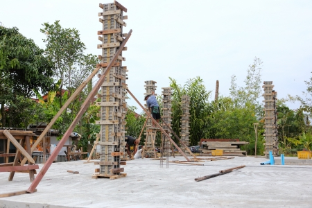 building cement pillar in construct site  photo