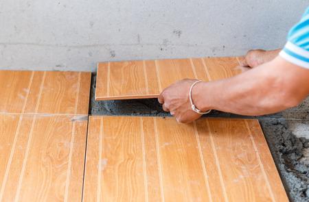 floor tile installation for house building