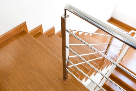 Inter wooden staircase of new house Stock Photo - 26136336