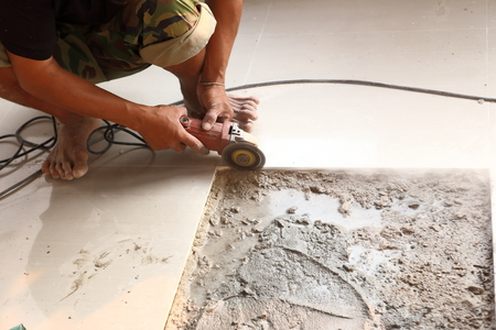 floor tile installation for house building  photo