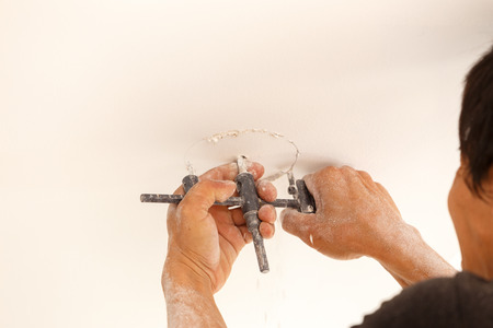 downlight: downlight install on ceiling for new house Stock Photo