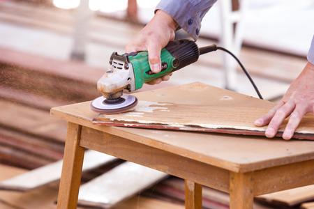 carpenter plane wood for house construction  photo
