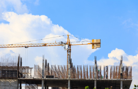 Construction site with cranes Stock Photo