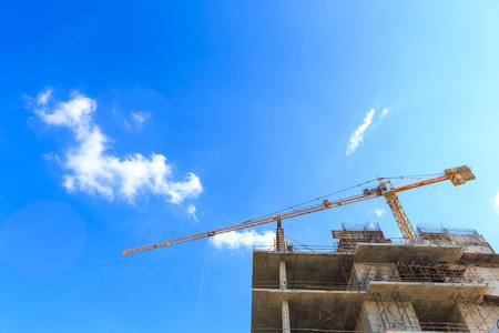 Construction site with cranes photo
