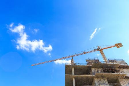 buildingsite: Construction site with cranes Stock Photo