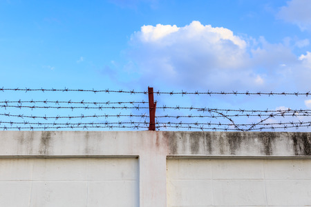 imprisoned: Barbed wire wall on blue sky