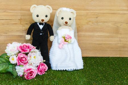 Romantic Bear on wedding Scene photo
