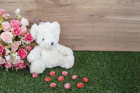 Romantic Bear with heart canndy photo