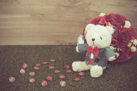 Romantic Bear on vintage retro color tone photo