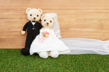 Romantic Bear on wedding Scene photo