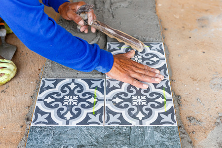 floor tile: floor tile installation for house building