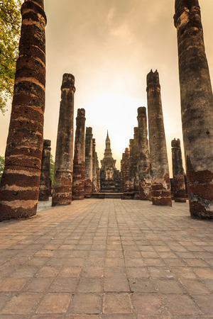 sukhothai historical park the old town of thailand on sunset photo