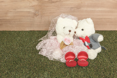 Romantic toy Bear in wedding secne photo