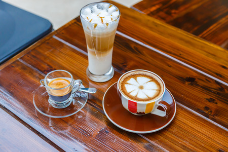 coffee on table in cafe photo
