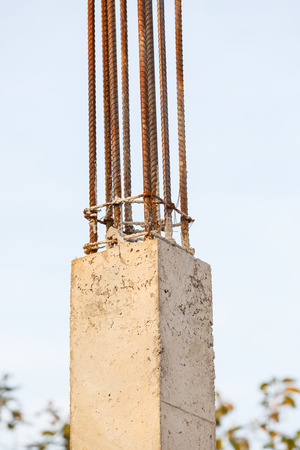 cement pole: Pillar cement with steel rod in construction site
