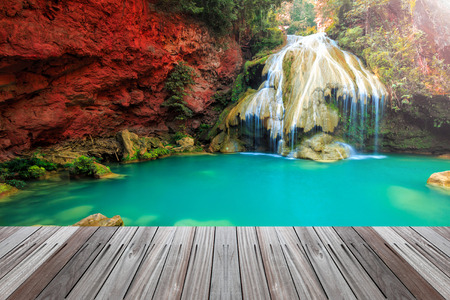 wonderful thailand: wonderful waterfall in thailand  with wooden floor