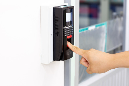 Finger scan for security system 스톡 콘텐츠