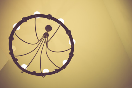 chandelier circle for house in vintage retro tone photo