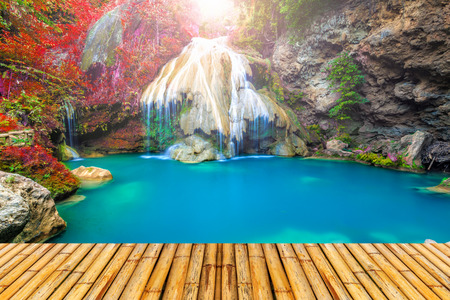 wonderful thailand: wonderful waterfall in thailand with bamboor floor