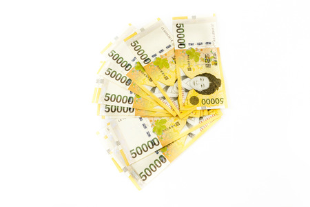 Korea money on white background