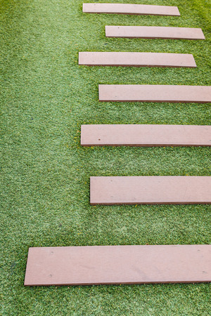 staircase artificial grass with wooden photo