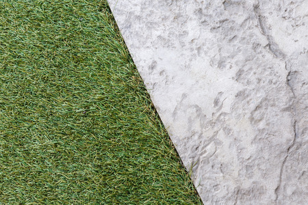artificial grass with stone floor texture backgroud photo