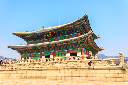 SEOUL, KOREA - MARCH 8, 2015: Gyeongbokgung Palace, the old royal residence, in Seoul, South Korea on march 8, 20015