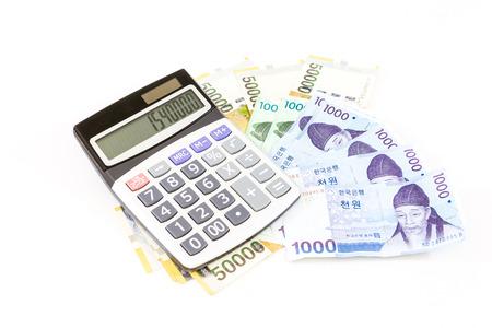 korea money with calculator Archivio Fotografico