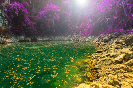 lagoon: wonderful crater lagoon in thailand, lom pu keaw lagoon lampang Stock Photo
