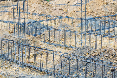 footing: foundation steel rod for house building