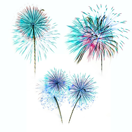 Set of colorful fireworks light on white background photo