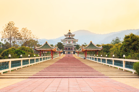 chinese temple on sunset photo