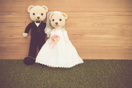 Romantic toy Bear in wedding scene