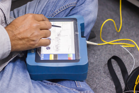 fiber optic testing Stock Photo