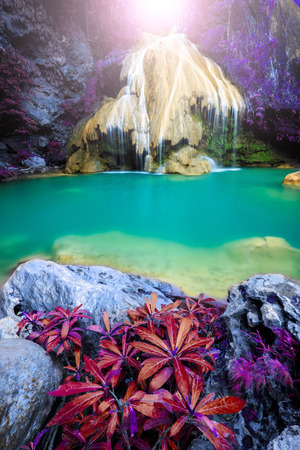 natural: wonderful waterfall with colorful tree in thailand