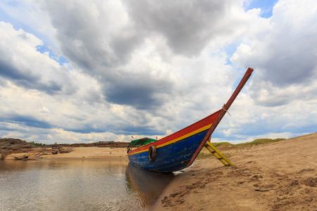 khong river: Big boat for transport on khong river