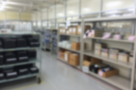 Warehouse in factory blurred photo