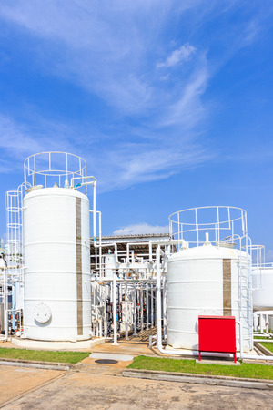 water filter: chemistry tank in factory with blue sky
