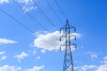 electricity pole: Electricity pole on blue sky Stock Photo