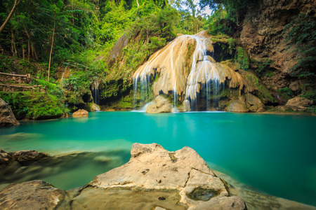 wonderful thailand: wonderful waterfall with colorful tree in thailand