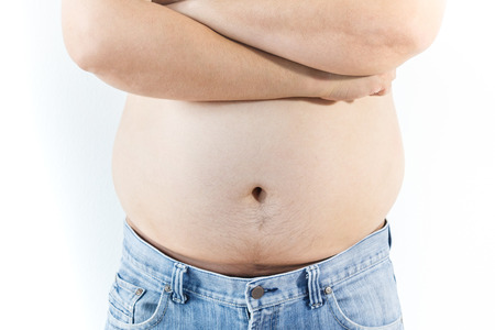 fatness: Fat man on white background