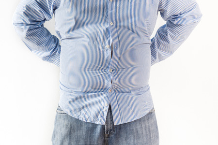 belly fat: Fat man on white background