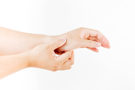 carpal tunnel syndrome: Hand injury on white background
