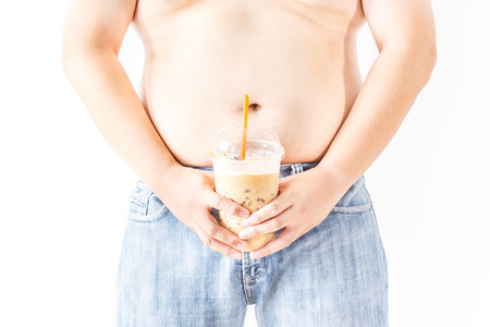 fatness: Fat man with coffee on white  background