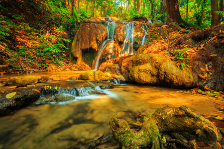 colorful tree: wonderful waterfall with colorful tree in thailand