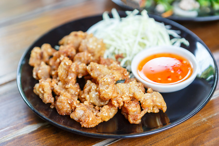 tendon: Fried tendon Chicken with  sauce Stock Photo