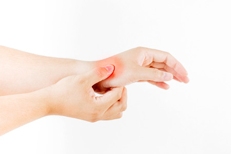 carpal tunnel: Hand injury on white background
