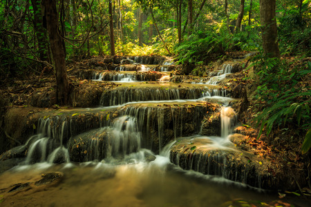 waterfall in the forest: wonderful waterfall in thailand, Pugang waterfall chiangrai Stock Photo